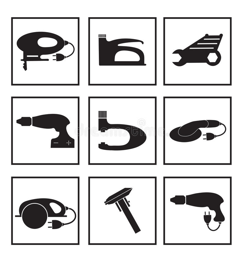 Werkzeugmechanikerikonen eingestellt, schwarzes Schattenbild Elementlogowerkzeuge, lokalisiert auf einem weißen Hintergrund Auch  vektor abbildung