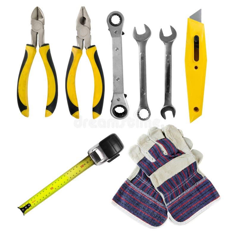 Werkzeugsatz auf Weiß stockbilder