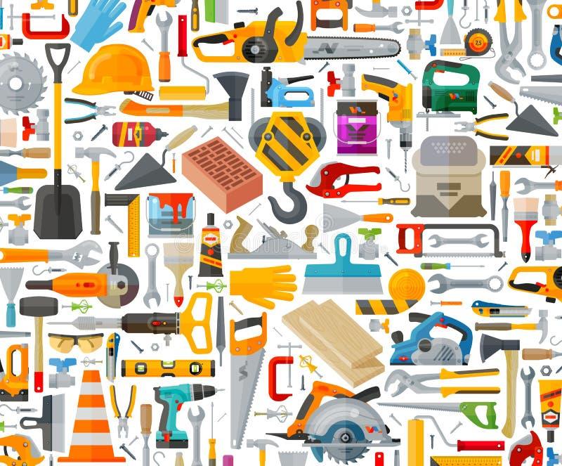 Werkzeugsatzikonen Zeichen und Symbole stock abbildung
