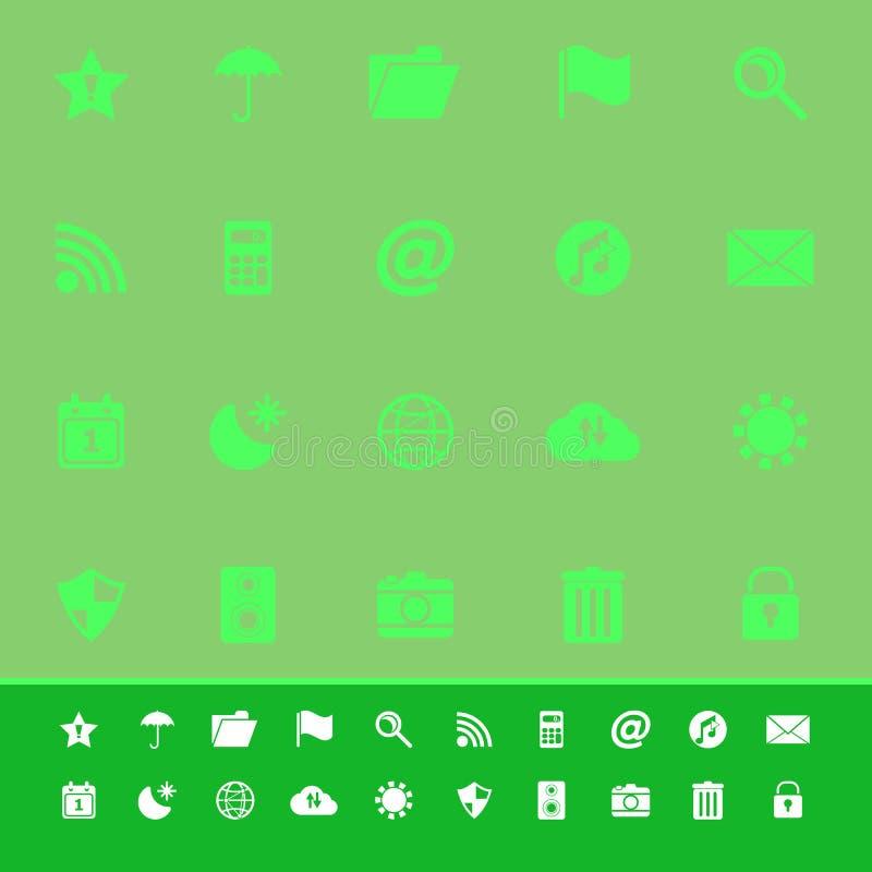 Werkzeugstangen-Farbikonen auf grünem Hintergrund lizenzfreie abbildung