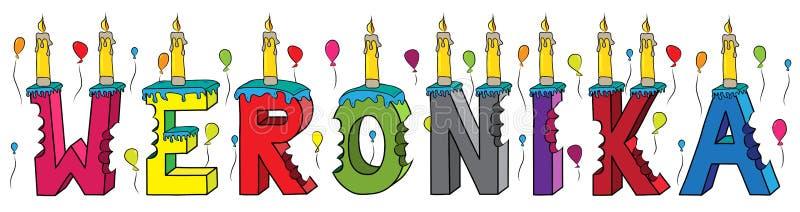 Weronika θηλυκό κέικ γενεθλίων ονόματος δαγκωμένο ζωηρόχρωμο τρισδιάστατο γράφοντας με τα κεριά και τα μπαλόνια ελεύθερη απεικόνιση δικαιώματος