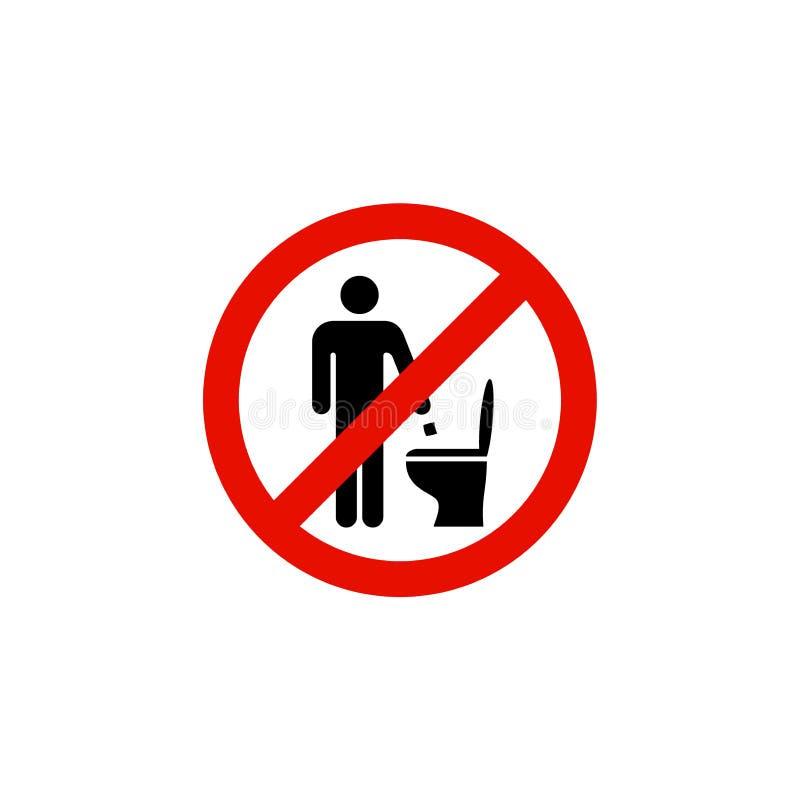 Werp afval of geen document in het teken van het toilet rode verbod stock illustratie