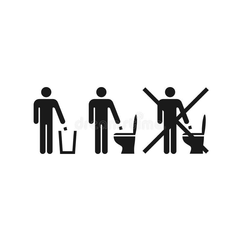 Werp document of geen vuilnis in het toilet vectorteken royalty-vrije illustratie