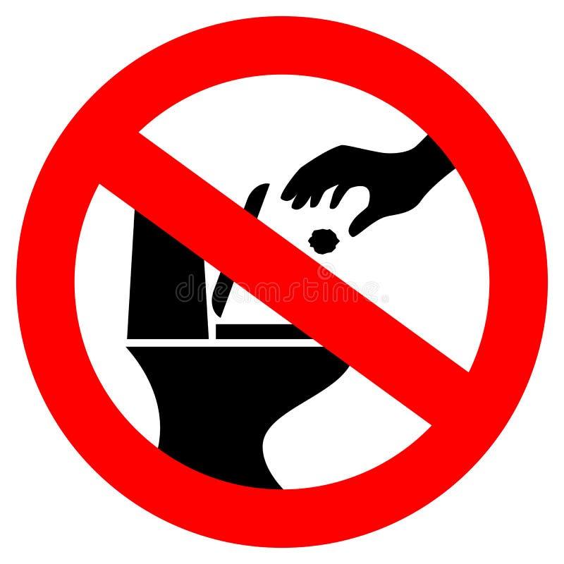 Werp geen afval in toilet vectorteken royalty-vrije illustratie