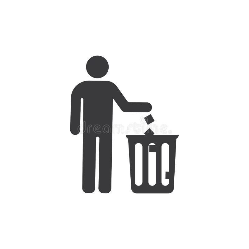 Werp huisvuil in het afval vector illustratie