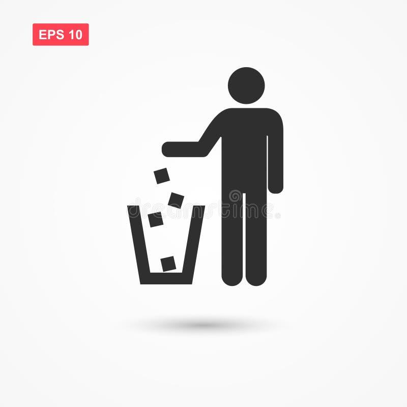 Werp huisvuil in vuilnisbak vector illustratie