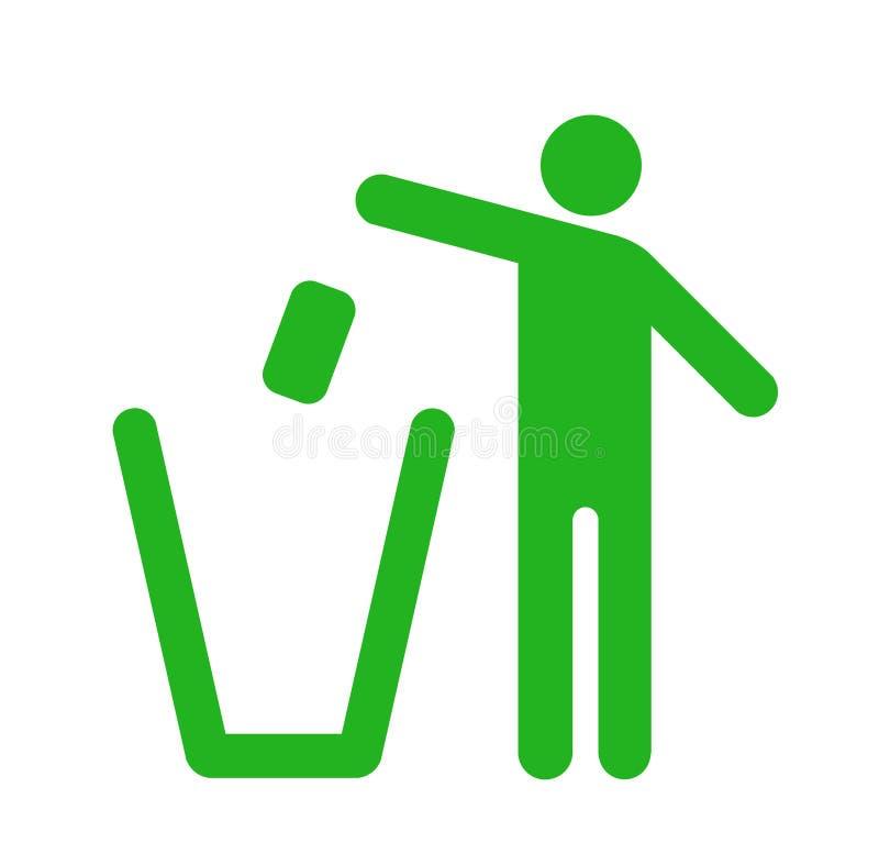 Werp vuilnis in de bak stock illustratie