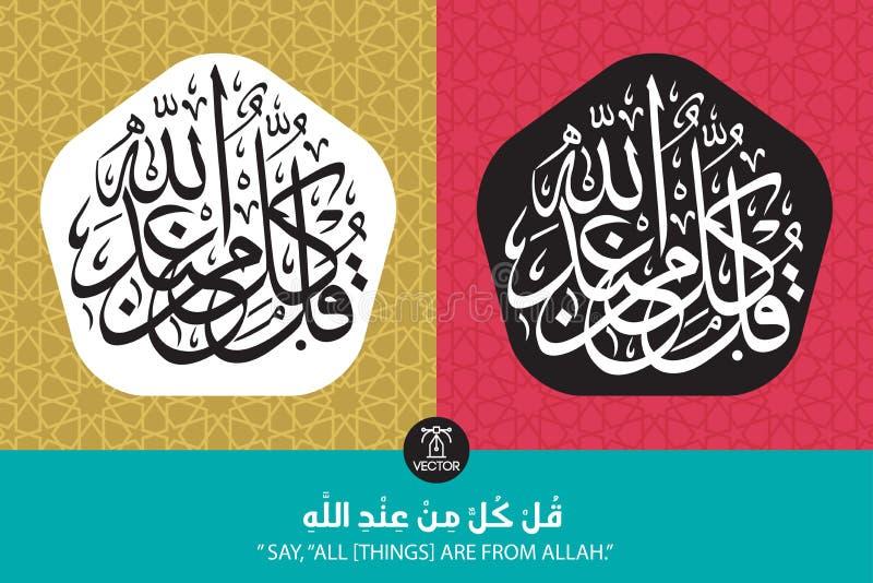 Wersetu przekład wszystkie rzeczy jest od Allah - mówi - royalty ilustracja