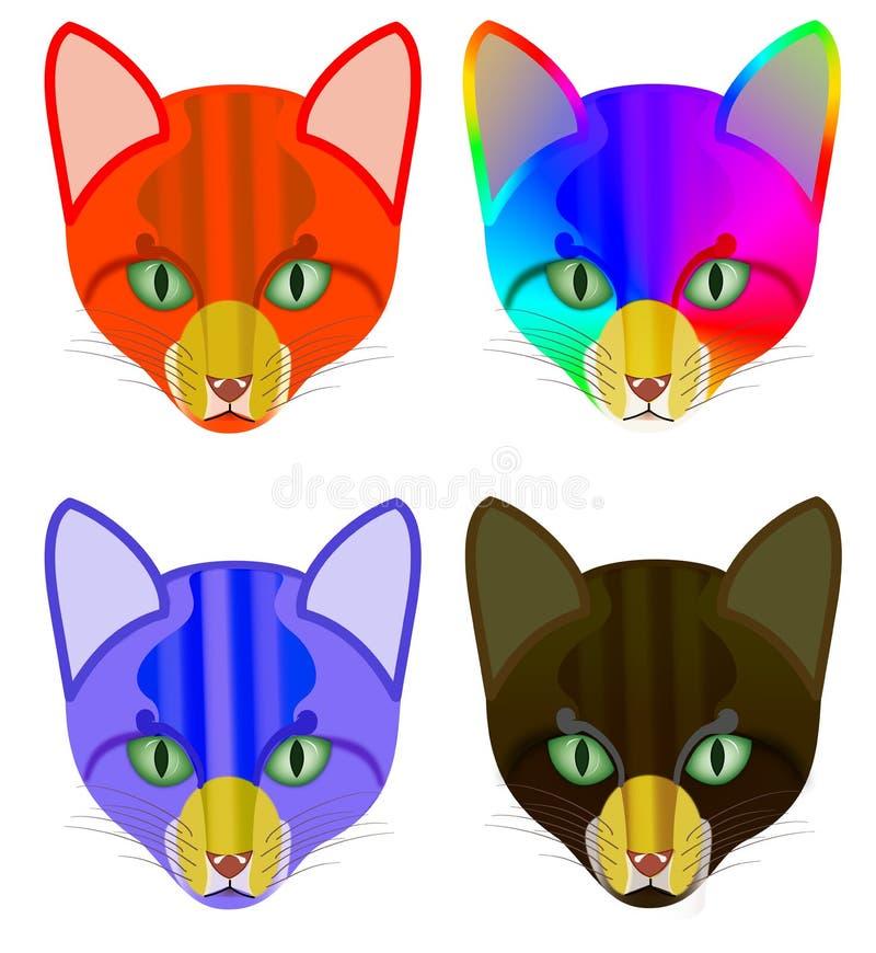4 wersi kolorowa głowa kot ilustracji