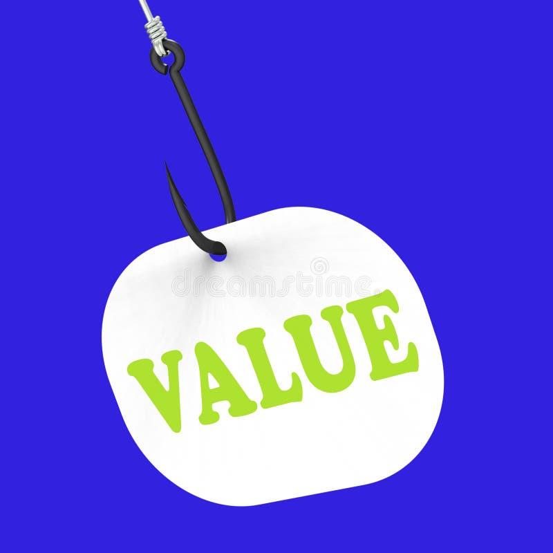 Wert auf Haken zeigt hohe Bedeutung oder stock abbildung
