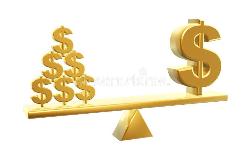 Wert der Dollar stock abbildung