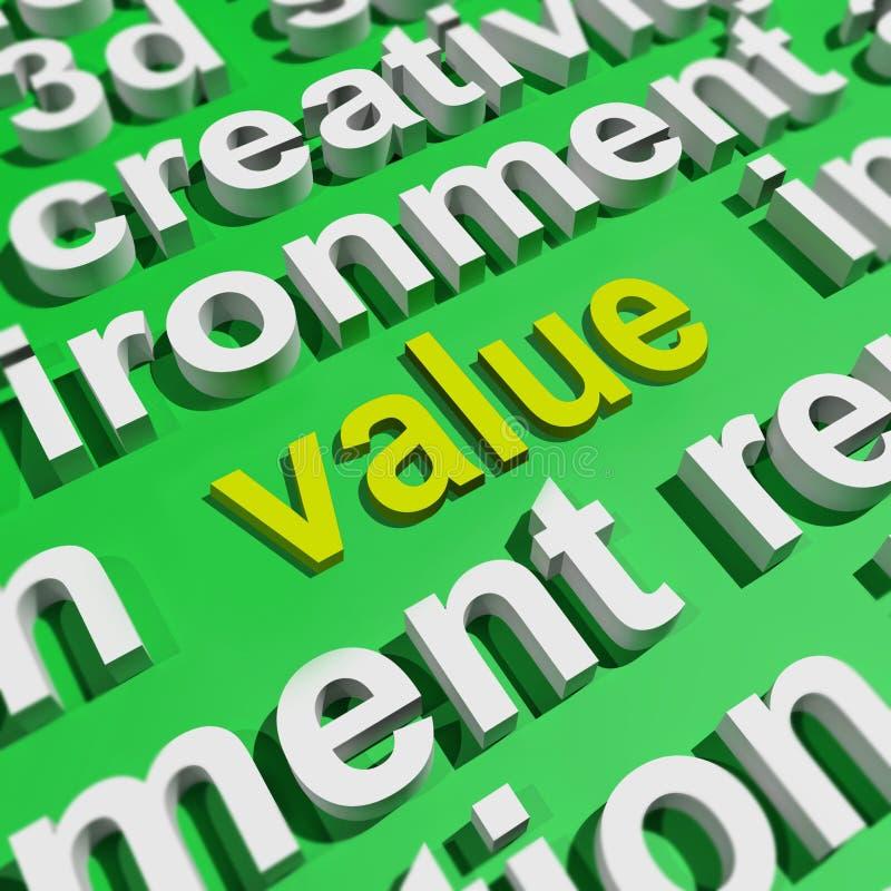 Wert in der Wort-Wolke stellt wert Bedeutung oder Bedeutung dar lizenzfreie abbildung