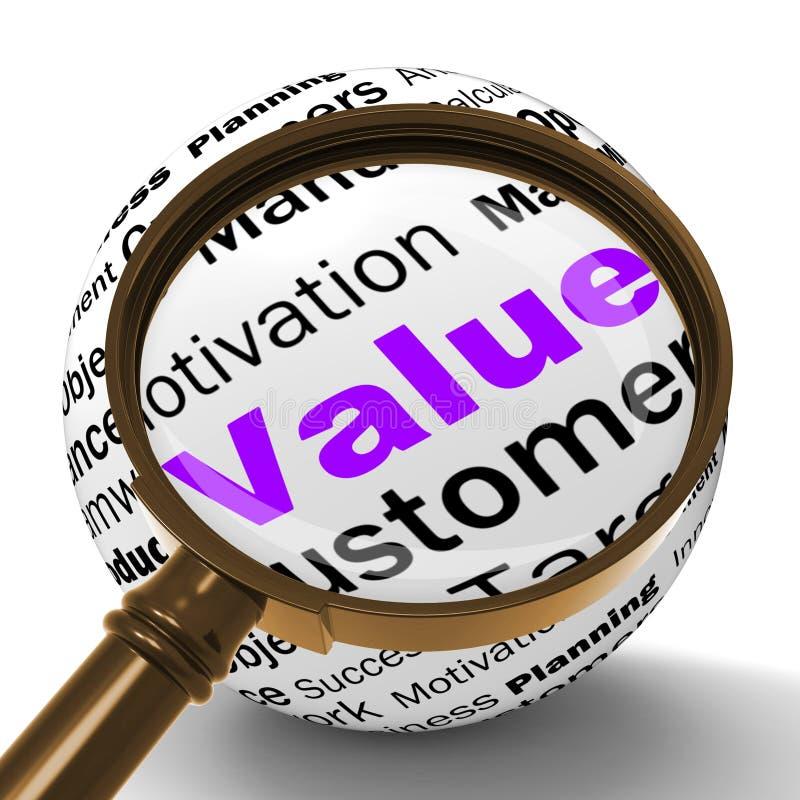 Wert-Vergrößerungsglas-Definition bedeutet Bedeutung und hohen Wert lizenzfreie abbildung