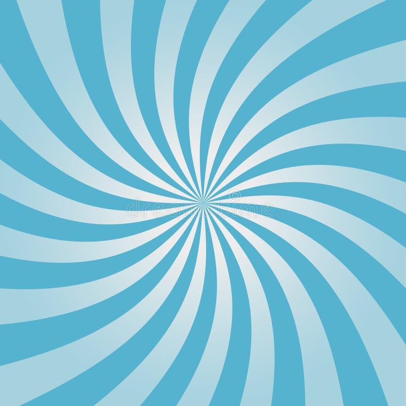 Wervelend blauw zonnestraalpatroon Radiaal ontwerp voor grappige achtergrond Draaikolkachtergrond Vector stock illustratie