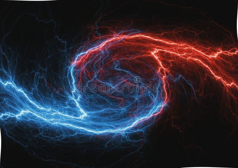Wervelende brand en ijsplasmabliksem vector illustratie