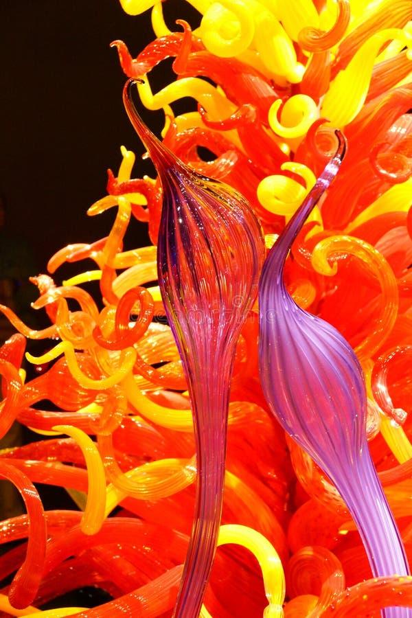 Wervelende kleuren van opgeblazen glas royalty-vrije stock foto's