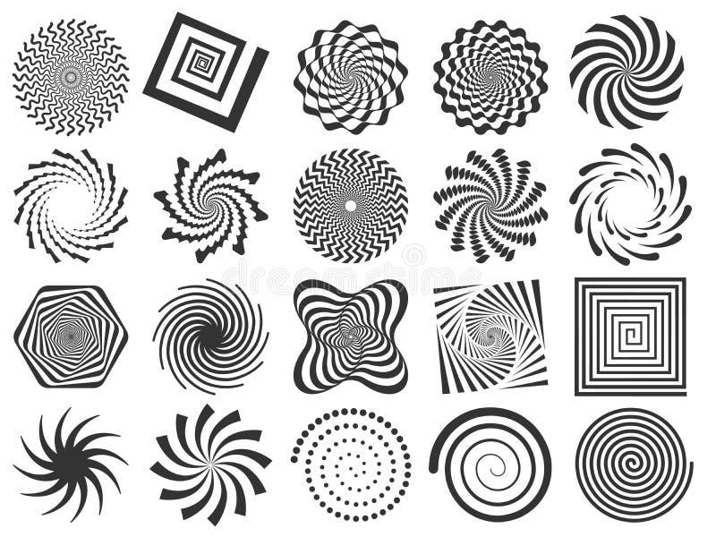 Wervelingssilhouet De spiraalvormige wervelende rotatie, wervelingen omcirkelt en vat de gewervelde reeks van de silhouetten vect stock illustratie