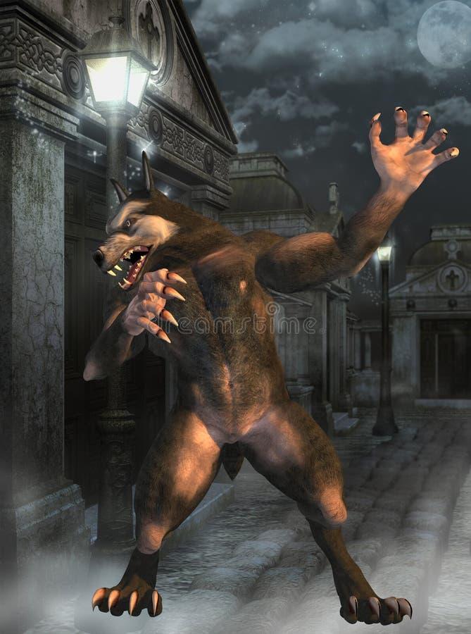 Werwolf auf den Straßen stock abbildung
