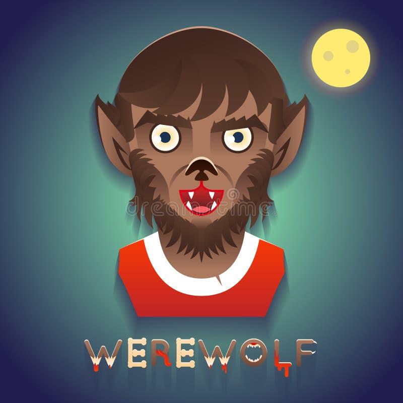 Werwolf-Avatara-Rollen-Charakter-Fehlschlag-Ikonen-Halloween-Partei-stilvolle Hintergrund-Gruß-Karten-Schablonen-Vektor-Illustrat vektor abbildung