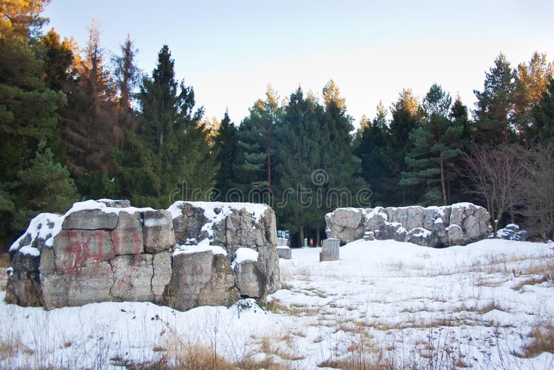 Werwolf, ruïnes van het hoofdkwartier van Adolf Hitler ` s, historische en herdenkings complex van Nazismeslachtoffers, Stryzhavk stock foto