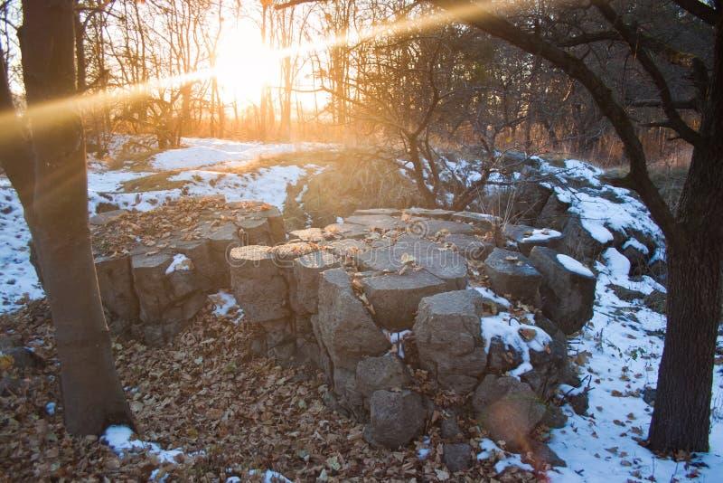 Werwolf, ruïnes van het hoofdkwartier van Adolf Hitler ` s, vernietigt bestand concrete bunker, Stryzhavka, Vinnytsia-gebied, de  royalty-vrije stock afbeelding