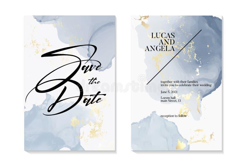 Wesele Zapisz zaproszenia i projekt szablonu karty ze złotą folią i teksturą z niebieskim liquis watercolor blobs malowane royalty ilustracja