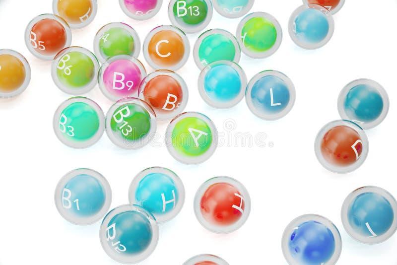 Wesentliche chemische Element-Nährmineral-Vitamine Wiedergabe 3d lizenzfreie abbildung