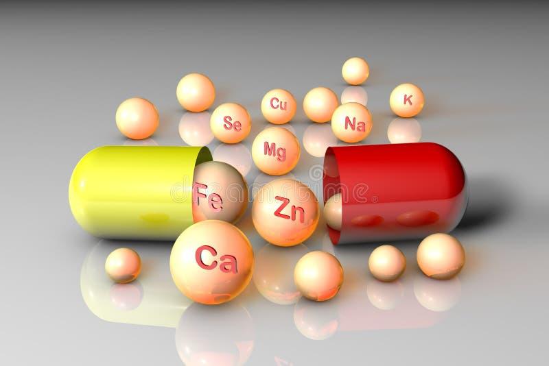 Wesentliche chemische Mineralien und Mikroelemente Gesundes Lebenkonzept Abbildung 3D lizenzfreie abbildung
