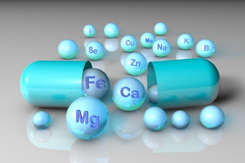 Wesentliche chemische Mineralien und Mikroelemente Gesundes Lebenkonzept Abbildung 3D vektor abbildung