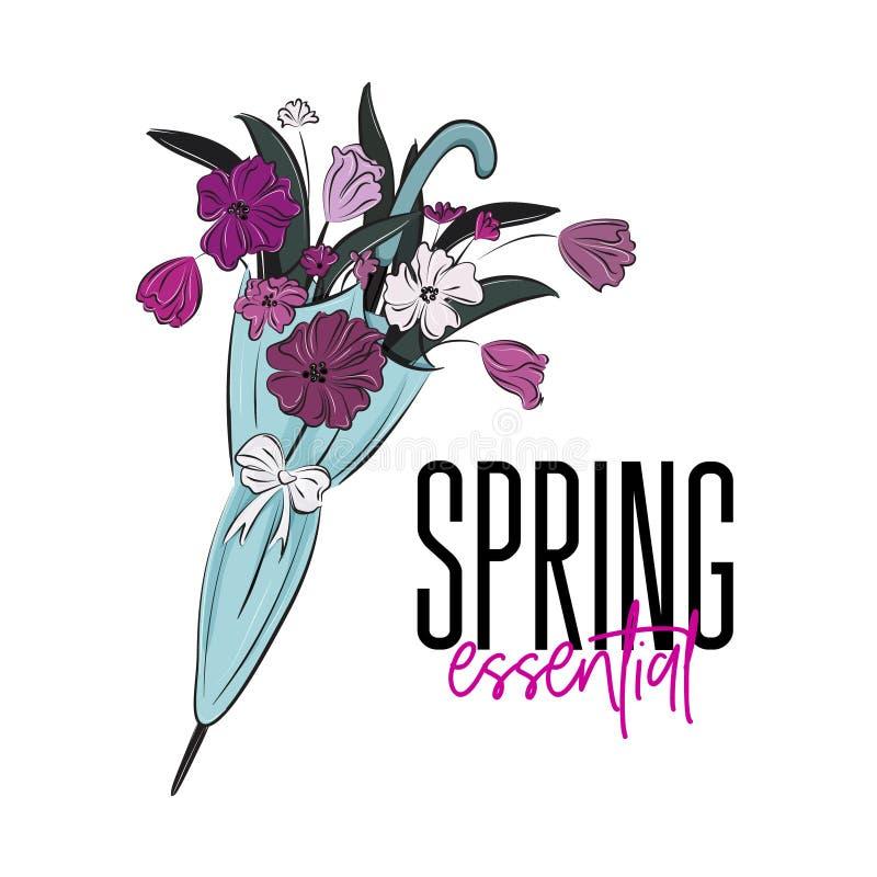 Wesentliche Illustration des Vektorfrühlinges Schöner Blumenblumenstrauß Blumen im romantischen Druck des Regenschirmangebots Tul lizenzfreie abbildung