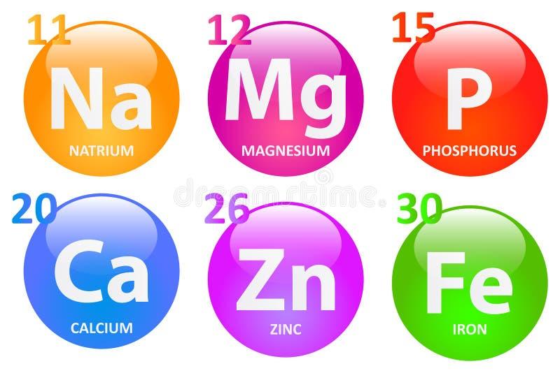 Wesentliche Mineralien lizenzfreie abbildung