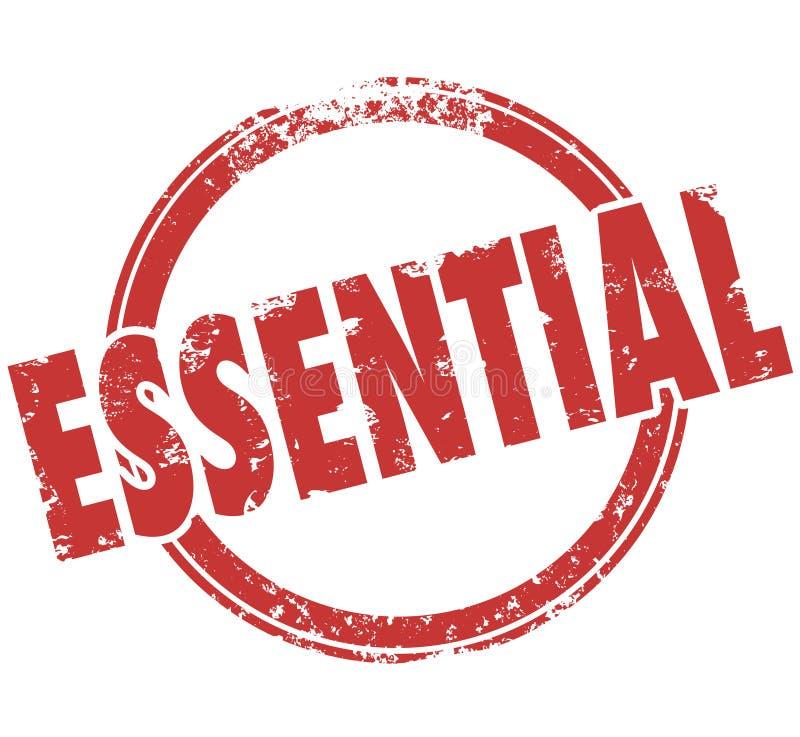 Wesentliches Wort-runder roter Stempel Vital Integral Product Service stock abbildung