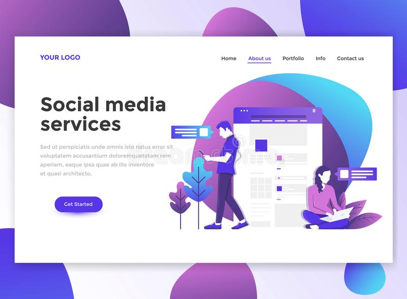 wesite模板-社会媒体服务平的现代设计  皇族释放例证