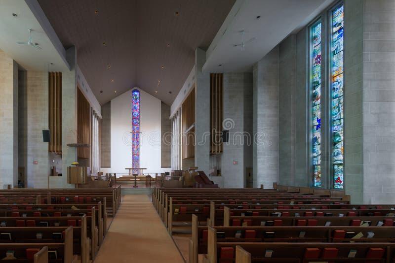 Wesley Jednoczył kościół metodystów wnętrze zdjęcia stock