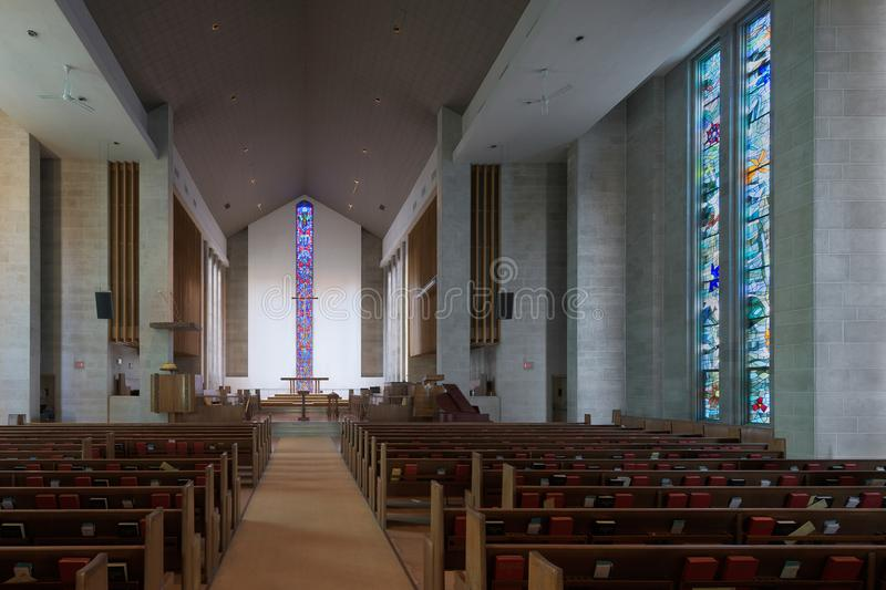 Wesley United Methodist Church interior. Wesley United Methodist Church at 1401 West Green Street on the campus of the University of Illinois at Urbana-Champaign stock photos