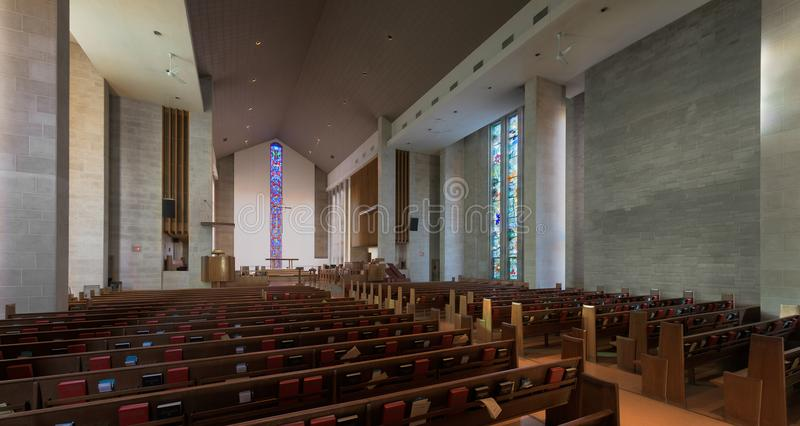 Wesley United Methodist Church interior. Wesley United Methodist Church at 1401 West Green Street on the campus of the University of Illinois at Urbana-Champaign royalty free stock photos