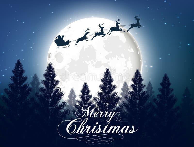 Wesoło bożych narodzeń kartka z pozdrowieniami z dużym shinny księżyc w noc lasu tle ilustracji