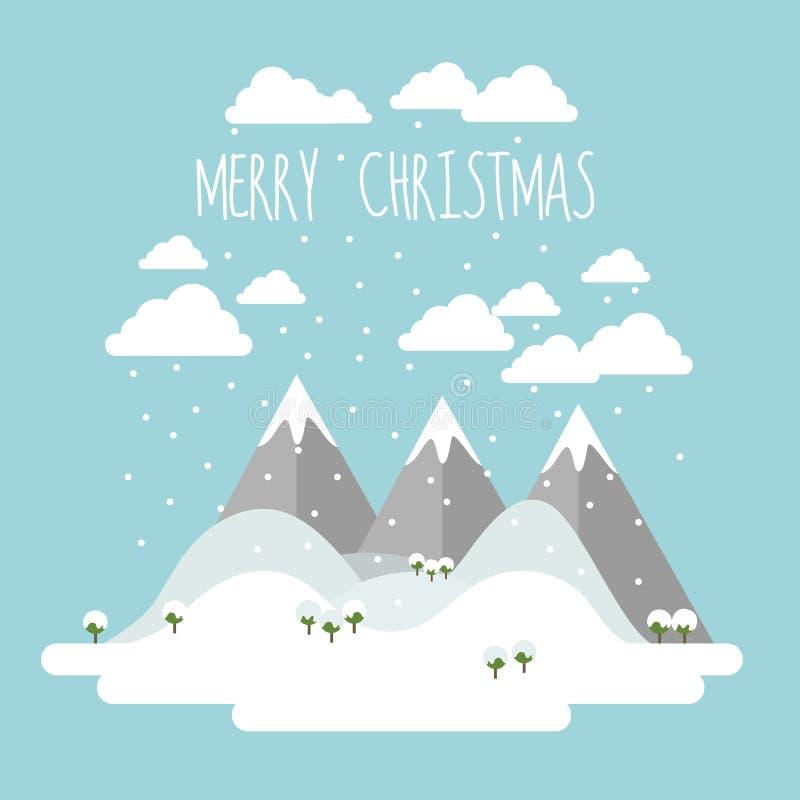 Wesoło kartka bożonarodzeniowa z płaskim projekta krajobrazem z górami, wzgórzami i drzewami zakrywającymi z śniegiem, royalty ilustracja
