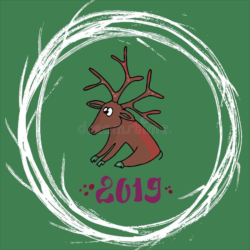 Wesoło śliczna kartka bożonarodzeniowa Santa rogacz siedzi na zielonym tle, wokoło round ramy jest Bożenarodzeniowym wiankiem ilustracja wektor