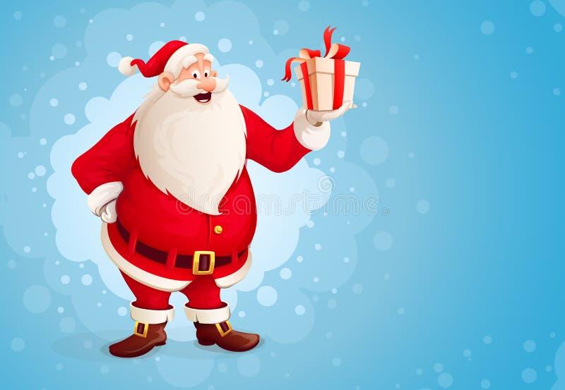 Wesoło Święty Mikołaj trzyma Bożenarodzeniowego prezent w pudełku royalty ilustracja