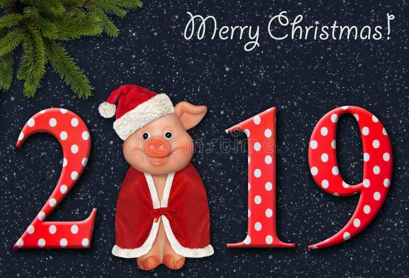 Wesoło świnia w 2019 rok zdjęcia stock