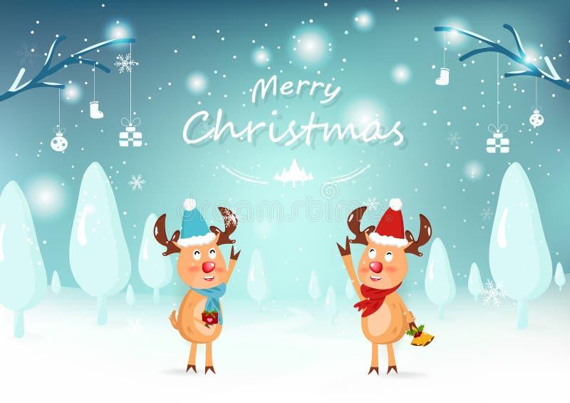 Wesoło boże narodzenia, śliczny reniferowy charakter, kartka z pozdrowieniami, śnieg fa ilustracja wektor