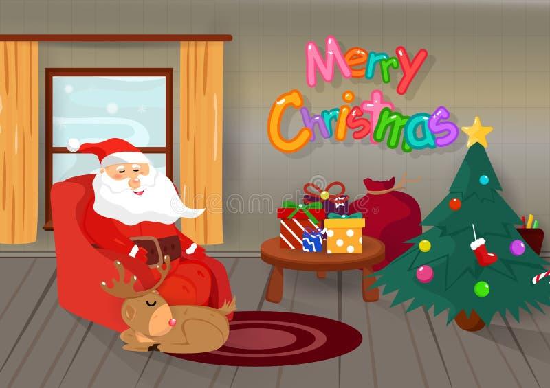 Wesoło boże narodzenia, Święty Mikołaj dosypianie z reniferem w drewnianym ho ilustracja wektor