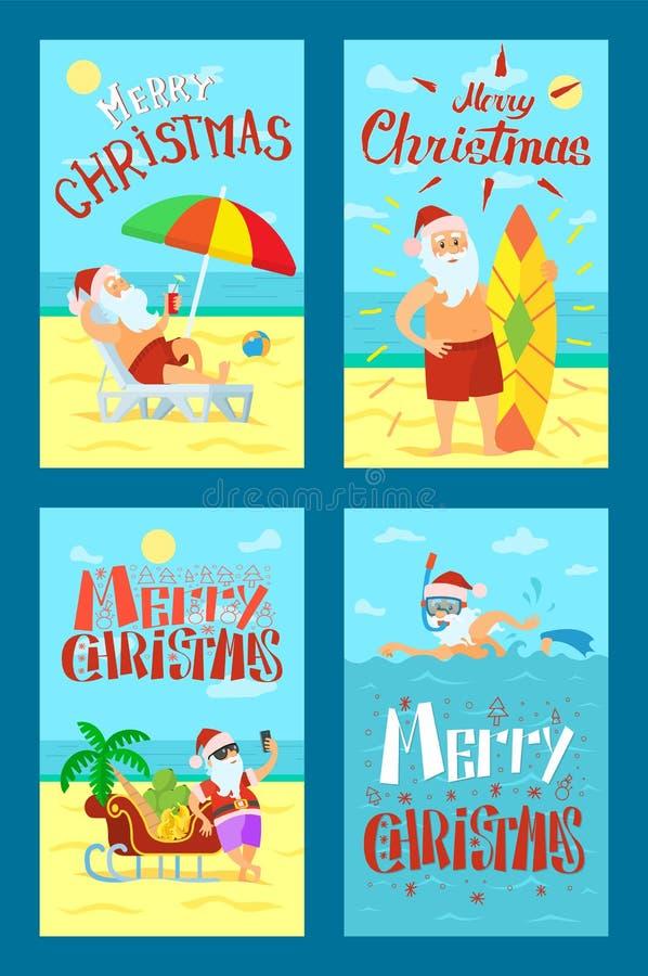 Wesoło boże narodzenia Święty Mikołaj Kłama Sunbed Surfboard ilustracji