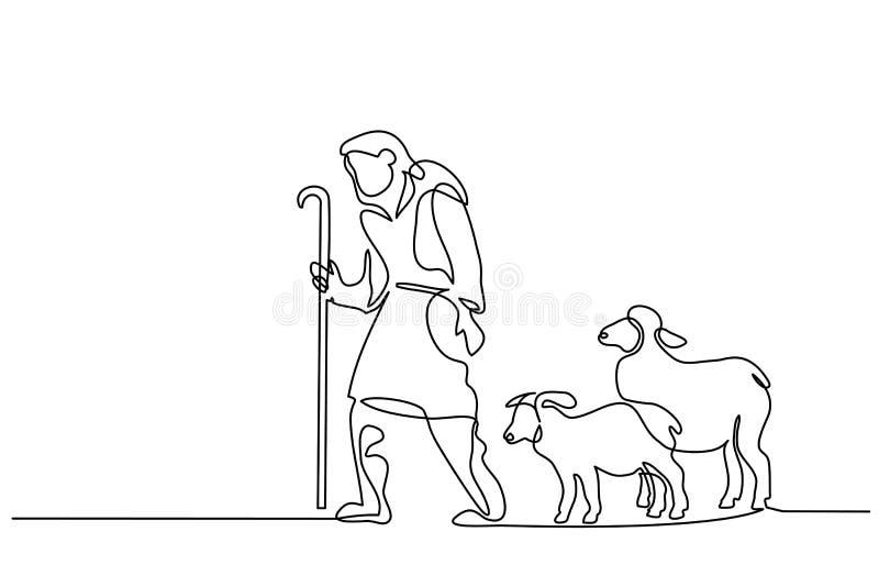 Wesoło boże narodzenia baca i sheeps jeden linia rysująca ilustracja wektor
