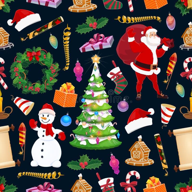 Wesoło boże narodzenia bezszwowy wzór, zima wakacje ilustracja wektor