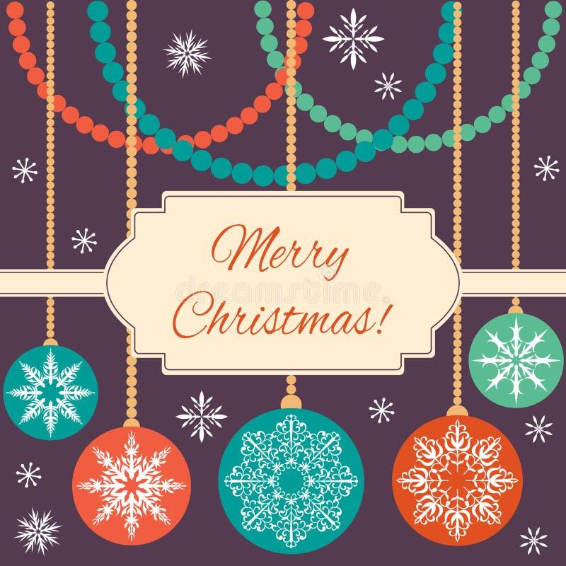 Wesoło boże narodzenia! Bożenarodzeniowe piłki z płatkami śniegu i dekoracje od z paciorkami ilustracja wektor