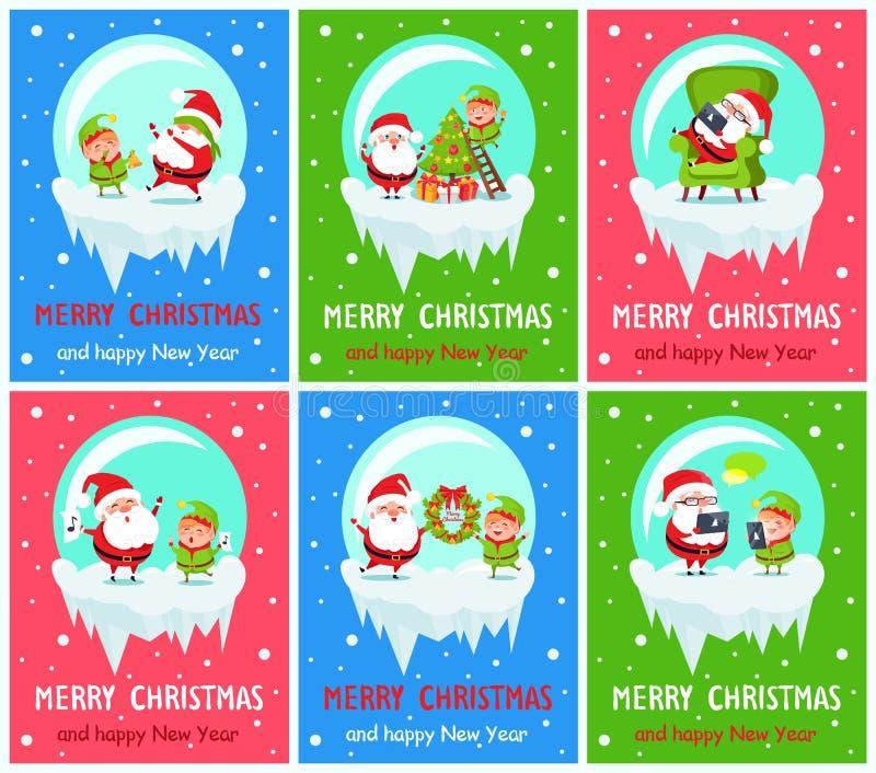 Wesoło boże narodzenia Claus i elfa wektoru ilustracja ilustracja wektor