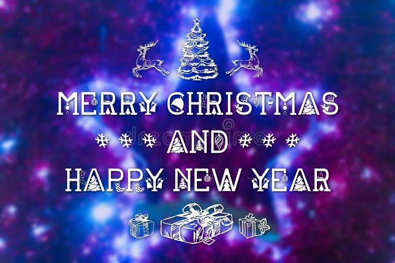 Wesoło boże narodzenia i nowego roku kartka z pozdrowieniami obraz stock