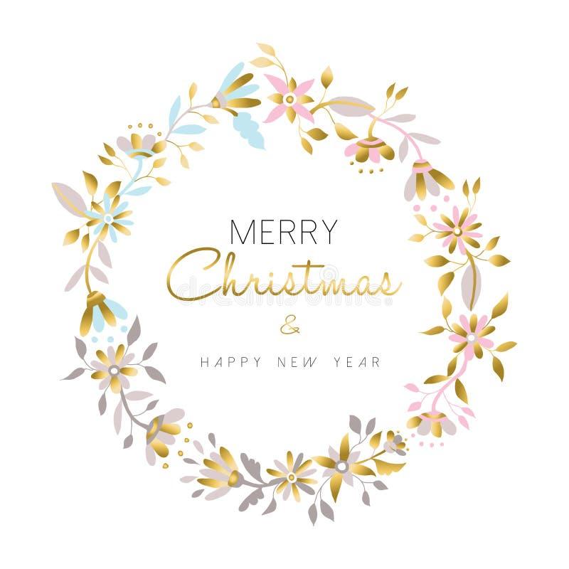 Wesoło boże narodzenia i nowego roku kwiatu złocisty wianek ilustracja wektor